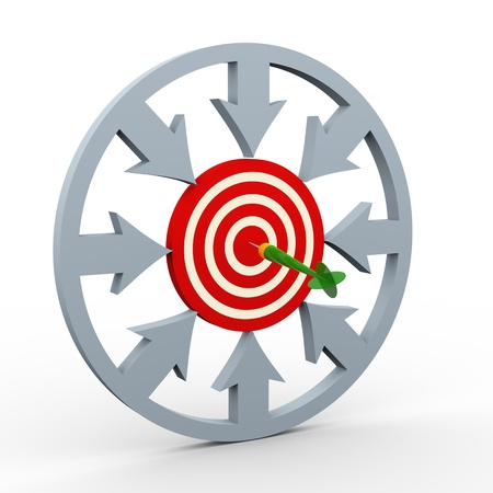 penetrating: 3d render of arrows in circular shape pointing to target having hit by dart  Concept of success and target achieved  Stock Photo
