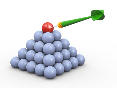 3d illustration of sphere pyramid with red unique sphere on top hit by dart  Concept of target achieving and success illustration