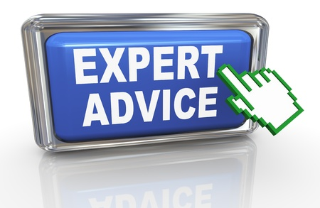 consultancy: 3d render of hand cursor and button with phrase expert advice