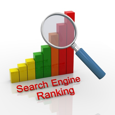 optimize: 3d render of magnifying glass hover over search engine ranking progress bars chart