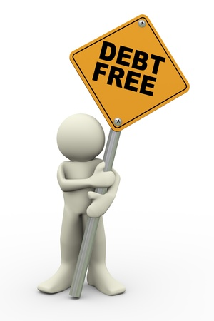 3d illustration of person holding road sign of debt free  3d rendering of people human character  Stock Photo