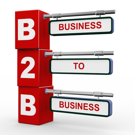 3d illustration of modern roadsign cubes signpost of b2b - business to business