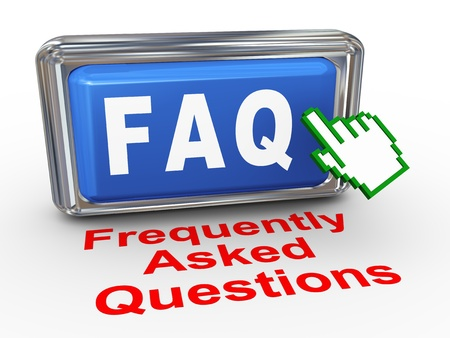 frequently: 3d render of hand cursor pointer click on button with phrase faq frequently asked questions Stock Photo