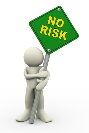 3d illustration of person holding road sign of no risk. 3d rendering of people human character. Stock Illustration - 19255438