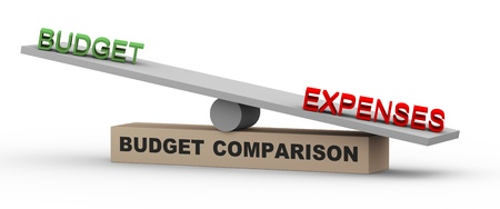 allocation: 3d illustration of concept of comparison of budget and expenses  Word expenses is heavier against budget on balance scale