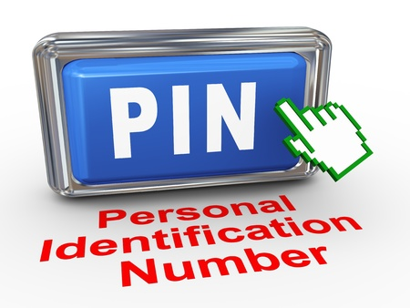 3d render of hand cursor pointer click on button with phrase PIN  Personal identification number Stock Photo - 19476688
