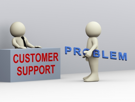 support desk: 3d illustration of person having problem contacting customer support for help and assistant  3d rendering of human people