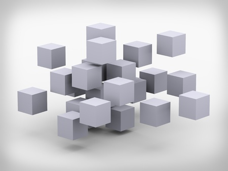 3d illustration of abstract structure cubes construction design Stock Illustration - 19638394