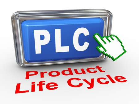 3d render of hand cursor pointer click on button with phrase plc product life cycle photo