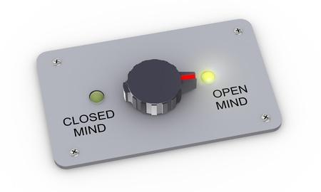 percepción: 3d ilustración de la perilla del interruptor con la mente abierta y estrecha mente y alternar para abrir la mente ajuste