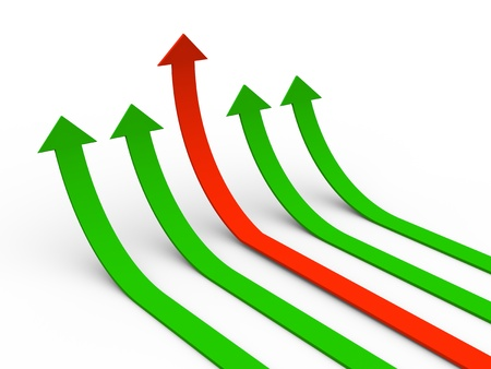 turn up: 3d illustration of rising arrows with one leading red arrow  Concept of growth, success, leadership, competition