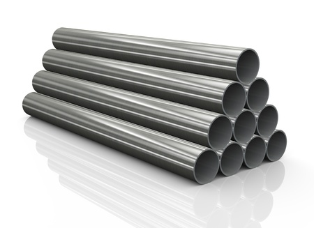 3d Illustration of stack of steel pipes illustration
