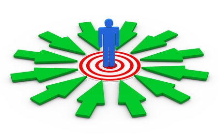 3d illustration of selected person on target surrounded by green arrows  Concept of targeting buyer, unique selection, success, goal achievement