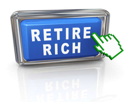scamming: 3d illustration of hand pointer cursor and button with phrase retire rich Stock Photo