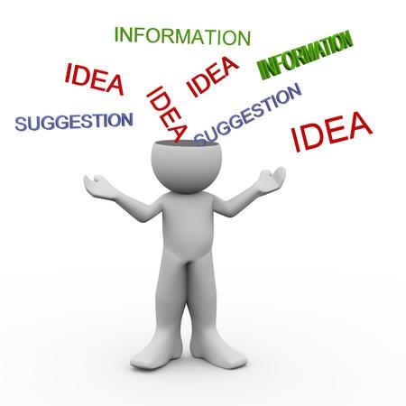 receptivo: 3d del hombre con mente abierta aceptaci�n de las ideas, la informaci�n, suggesstion 3d ilustraci�n del car�cter humano