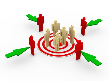 target market: 3d illustration of group of people on target  Green arrows taking new buyers and customer to target