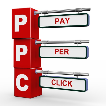 ppc: 3d illustration of modern roadsign cubes signpost of ppc - pay per click Stock Photo