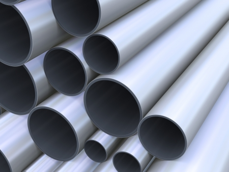 3d Illustration of closeup of steel pipes illustration