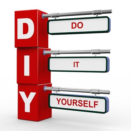 zelf doen: 3D illustratie van het moderne bord blokjes wegwijzer van diy - doe het zelf Stockfoto