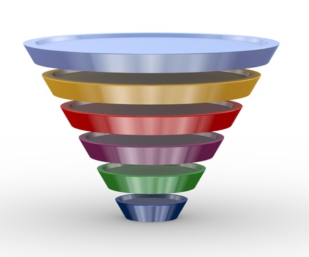 created: 3d illustration of funnel structure design created with circle shapes