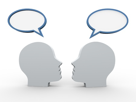 3d render of two human heads with speech bubble. concept of communication, chat, forum discussion photo