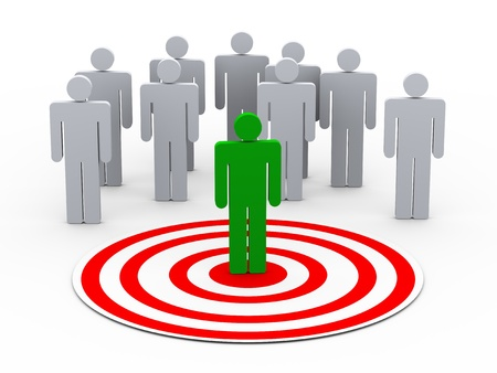 targeted: 3d illustration of man on target choose from group of people on target