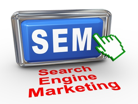 3d render of hand cursor pointer click on button with phrase sem Search Engine Marketing Stock Photo - 20156093