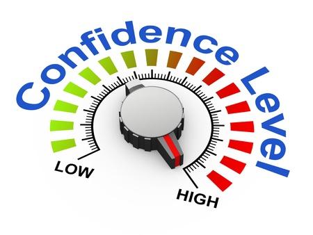 actitud positiva: 3d ilustraci�n de mando establece como m�ximo, para aumentar el nivel de confianza Foto de archivo