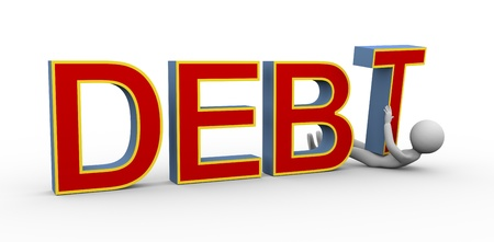 wor: 3d render of person under heavy debt   3d rendering of people human character Stock Photo