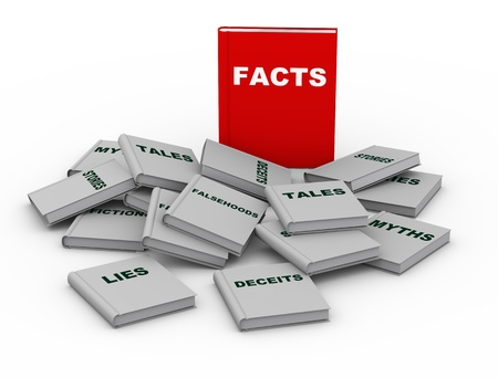 untruth: 3d render of red facts book vs lies, myth and other untruth stories books Stock Photo