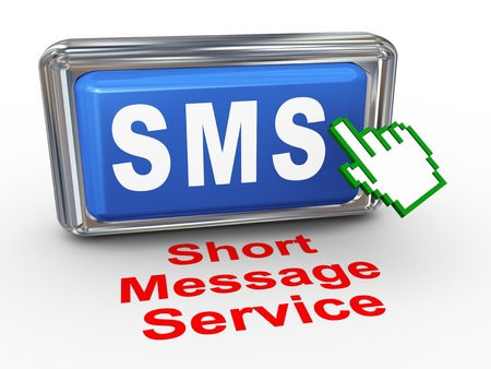 short message service: 3d render of hand cursor pointer click on button with phrase sms short message service