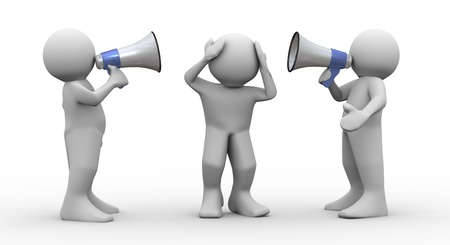 loudly: 3d render of people speaking loudly to frustrated man using megaphones