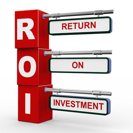 3d illustration of modern roadsign cubes signpost of roi - return on investment illustration
