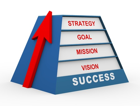 achievable: 3d render of pyramid with red upward arrow, representing concept of vision, mission, strategy and goal for success