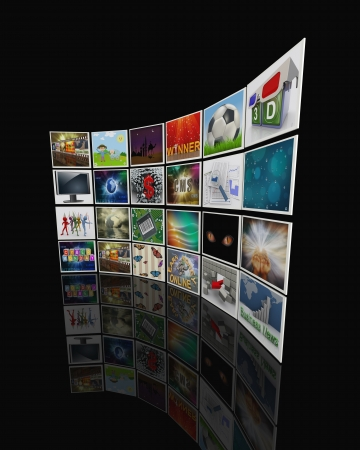 watch video: 3d render of collection of pictures, forming video display wall