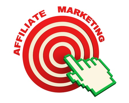 clicking: 3d render of web online affiliate marketing concept. Hand icon cursor clicking on target.