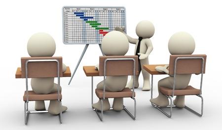 zeitplan: 3D-Darstellung von Geschäftsmann präsentiert Projekt Gantt-Diagramm. 3D-Darstellung von menschlichen Charakter Lizenzfreie Bilder