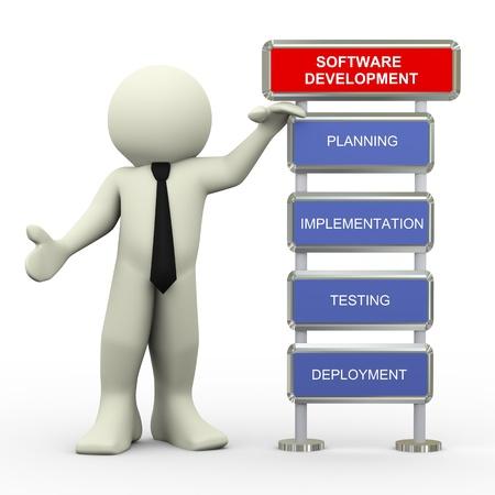 Rendu 3d de l'homme debout avec le processus de bêta-test du logiciel