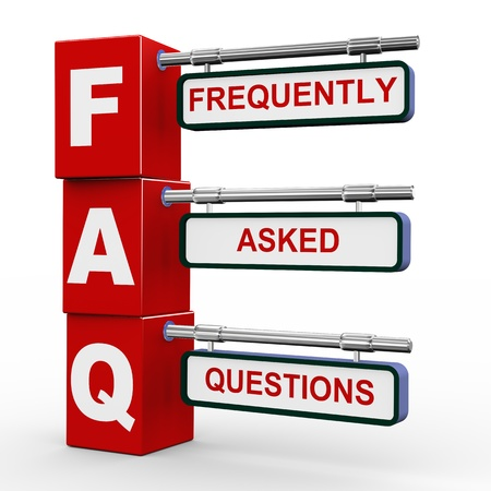 frequently: 3d illustration of modern roadsign cubes signpost of faq - frequently asked question