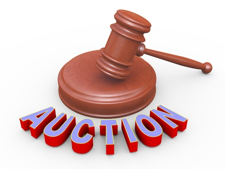 auctioneer: 3d render of word auction and wooden gavel Stock Photo