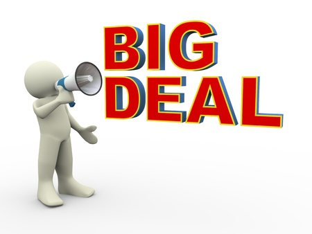 hot deal: 3d render of person announcing for big deal announcement using megaphone