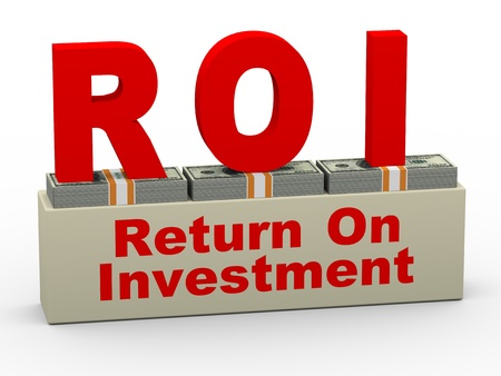 stock market return: 3d illustration of roi - return on investment on dollar packs Stock Photo