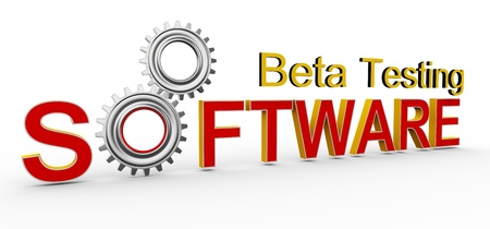 testing: 3d render of word software with two gears. Concept of software beta testing