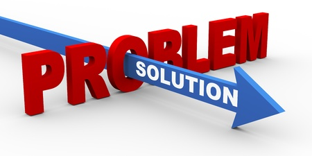 problem solving: 3d render of word problem and solution arrow  Concept of customer help and support