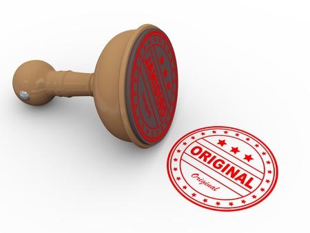 3d illustration of word original wooden rubber stamp Stok Fotoğraf