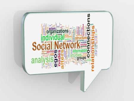 socialize: 3d render of bubble speech with social network wordcloud word tags