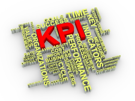 implement: 3d illustration of KPI Key Performance Indicator wordcloud word tags
