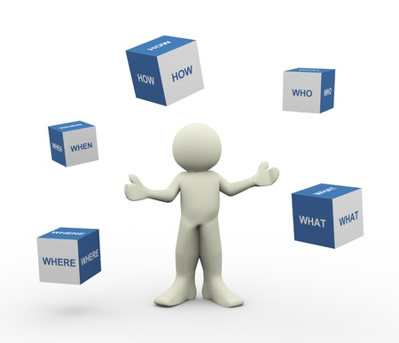 3d illustration of person standing with various question words cubes.  3d rendering of human character.