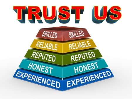 reputed: 3d illustration of colorful pyramid representing concept of trust Stock Photo