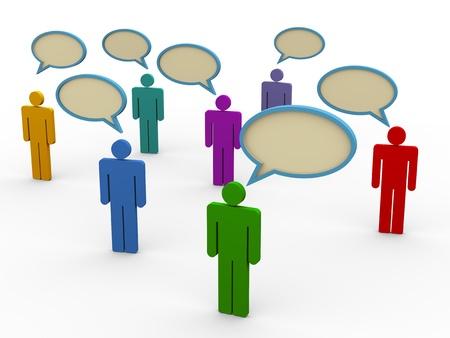 conversing: 3d illustration of man symbols with bubble speech  Stock Photo
